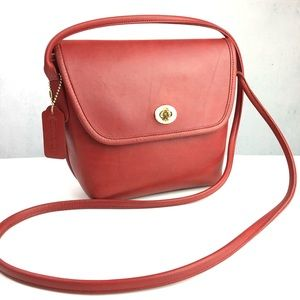 Vintage Coach Red Leather Quincey Bag No. 9919